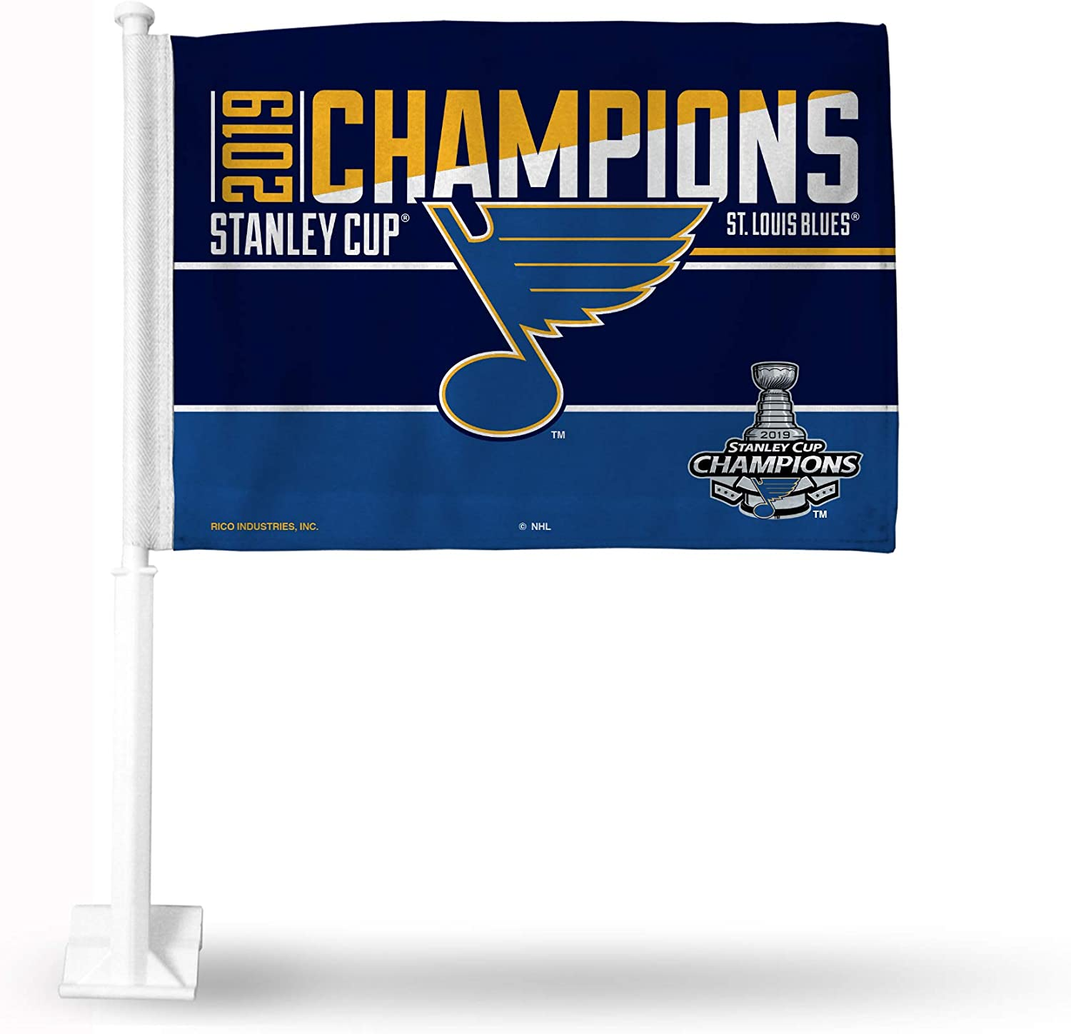 Blue with White Polecar Flag with White Pole 19 Rico Industries NHL St Louis Blues Car Flag