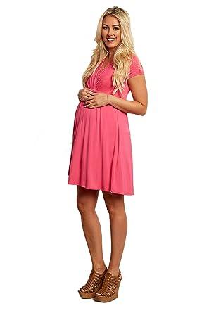 6a844606ddc PinkBlush Maternity Fuchsia Draped Front Maternity Nursing Dress at ...