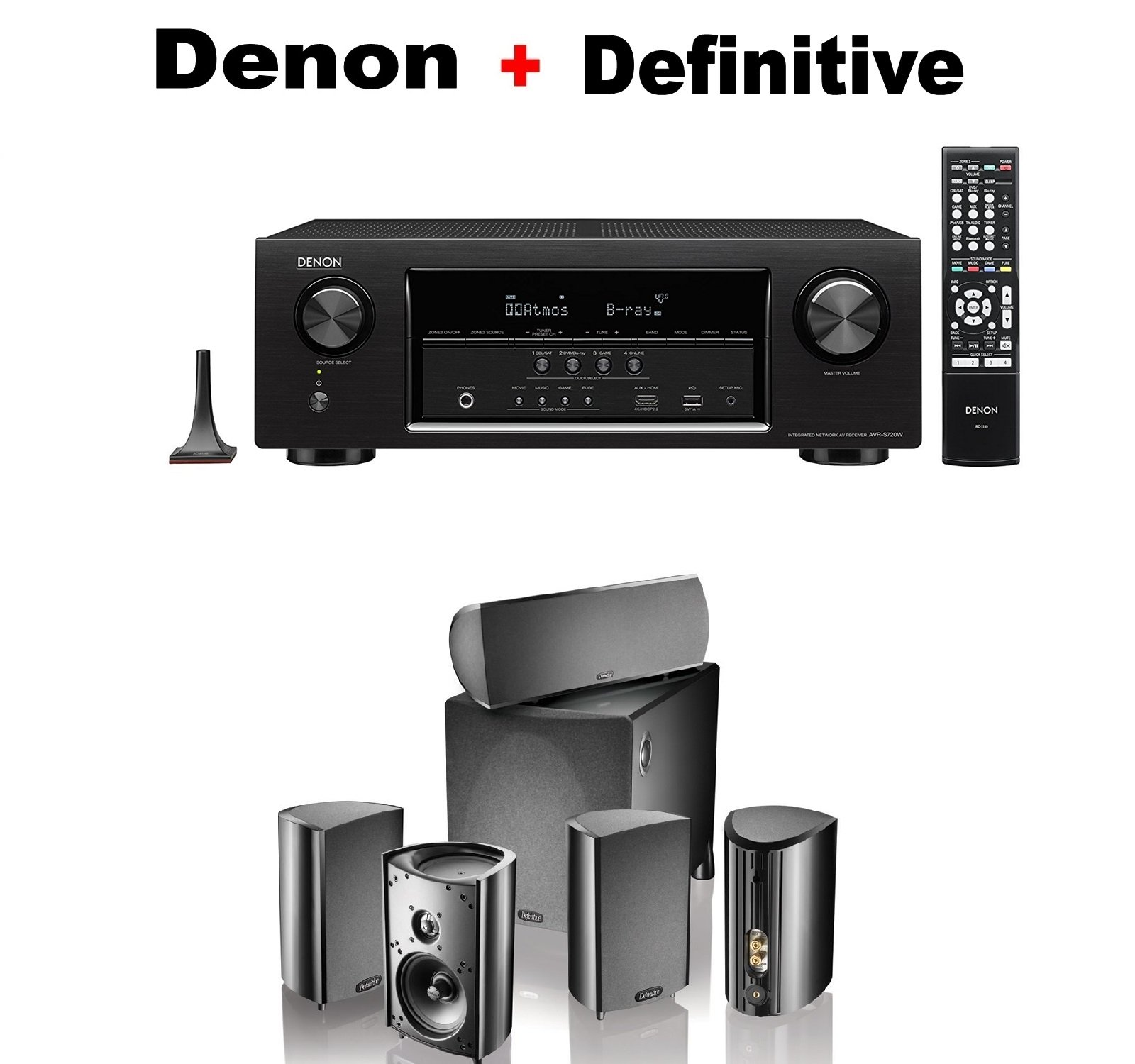 Denon AVRS720W 7.2 Channel HD AV Receiver with Built In WiFi and Bluetooth + Definitive Technology Pro Cinema 800 System Black Bundle by Denon