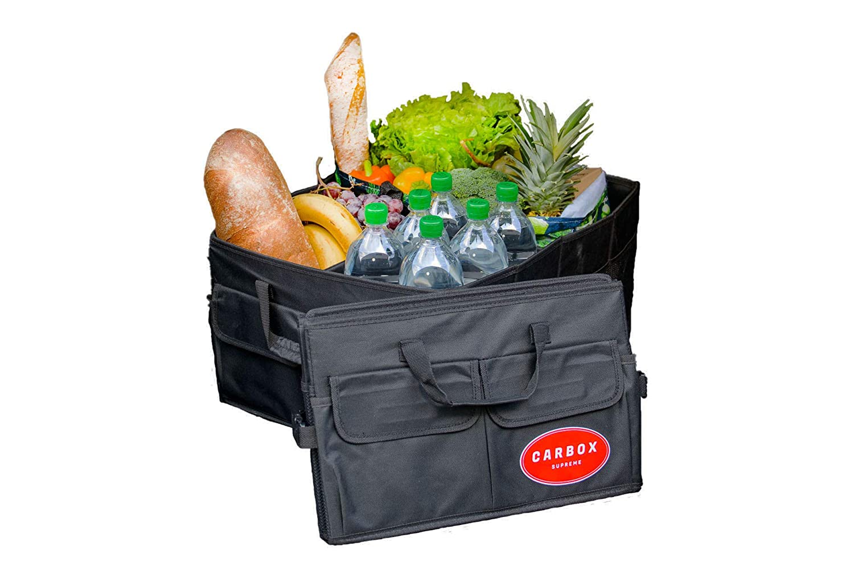 Carbox Supreme Gro/ße Kofferraumtasche aus Polyester schwarz Autozubeh/ör Tasche 53x38x25cm faltbar und stabil