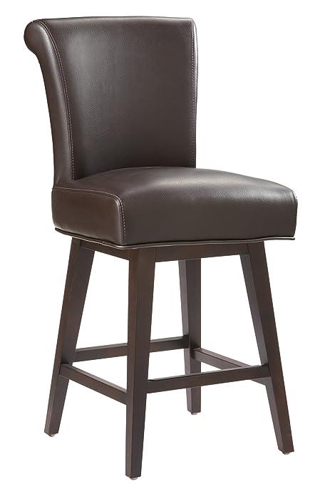 Pleasing Sunpan Modern 74921 Hamlet Leather Swivel Counter Stool Brown Uwap Interior Chair Design Uwaporg
