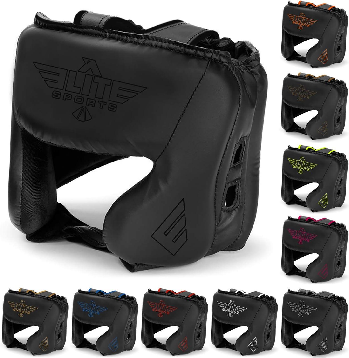 新しいアイテムEliteスポーツボクシングヘッドガード、Sparring Kickboxing、MMA、タイ式Headgear Kickブレースヘッド保護 ブラック