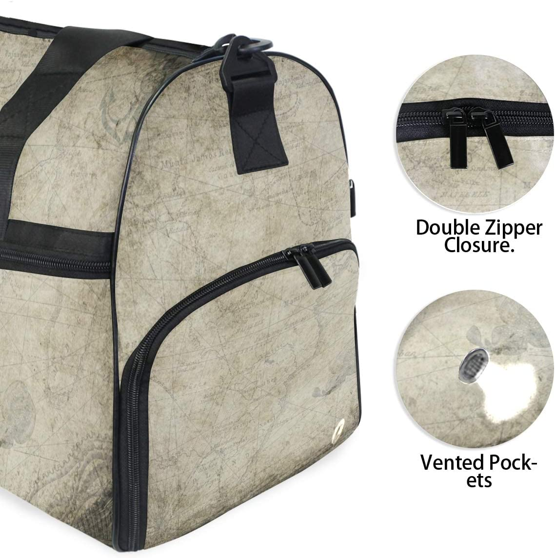 Weekender Bag with Shoes Compartment for Men Women MALPLENA Compass Map Travel Duffel Bag