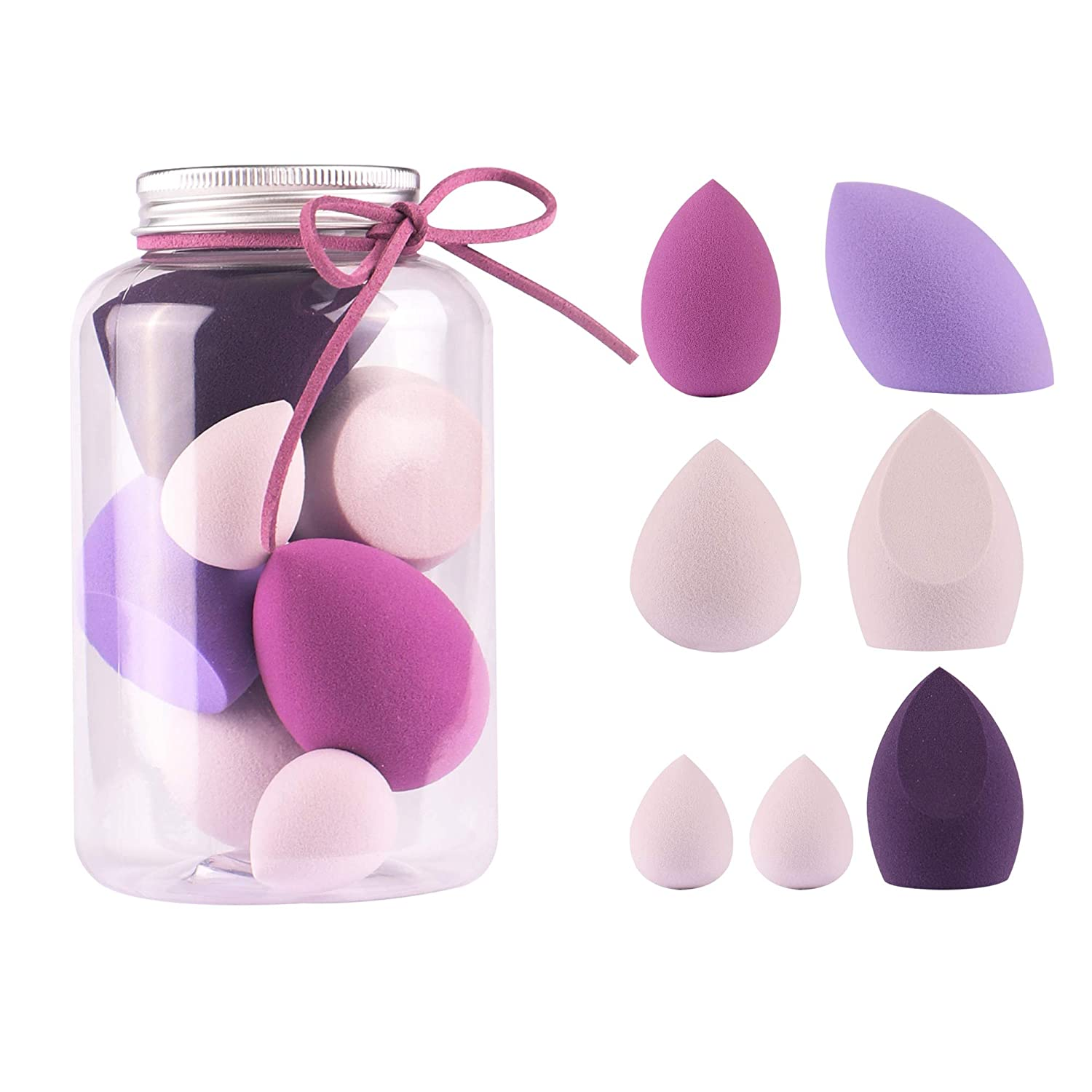 Anne's Giverny Makeup Blender Sponge Set-7pcs Soft Beauty Foundation Blending Eggs - for All Kinds of Cosmetics, Liquid Foundation,BB Cream, Powder, Concealer, Isolation,Etc,Multi-colored Gift