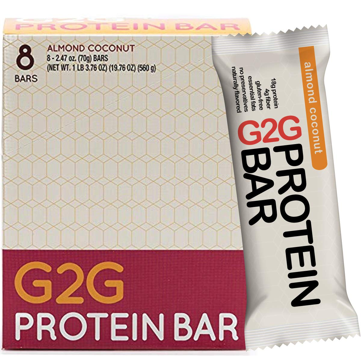 G2G Protein Bar, Almond Coconut Protein Bar, 8 Count Box by G2G Protein Bar