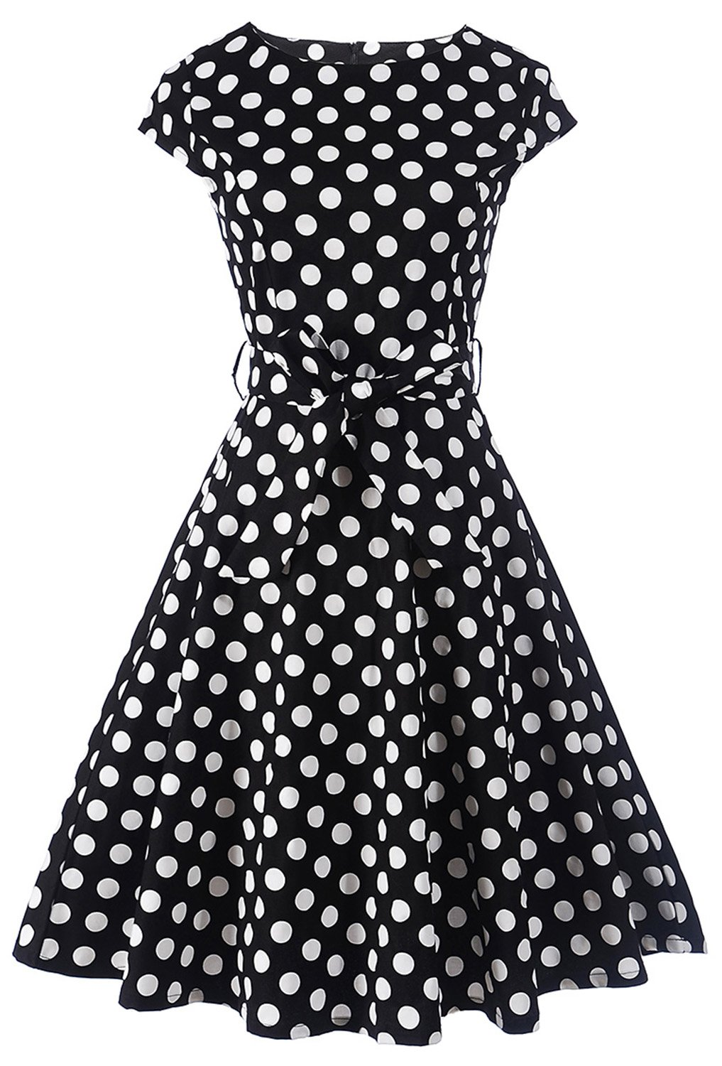 ANCHOVY Cap Sleeve Polka Dots Tea Cocktail Party Vintage 1950s Dresses for Women C71 (Black, L)