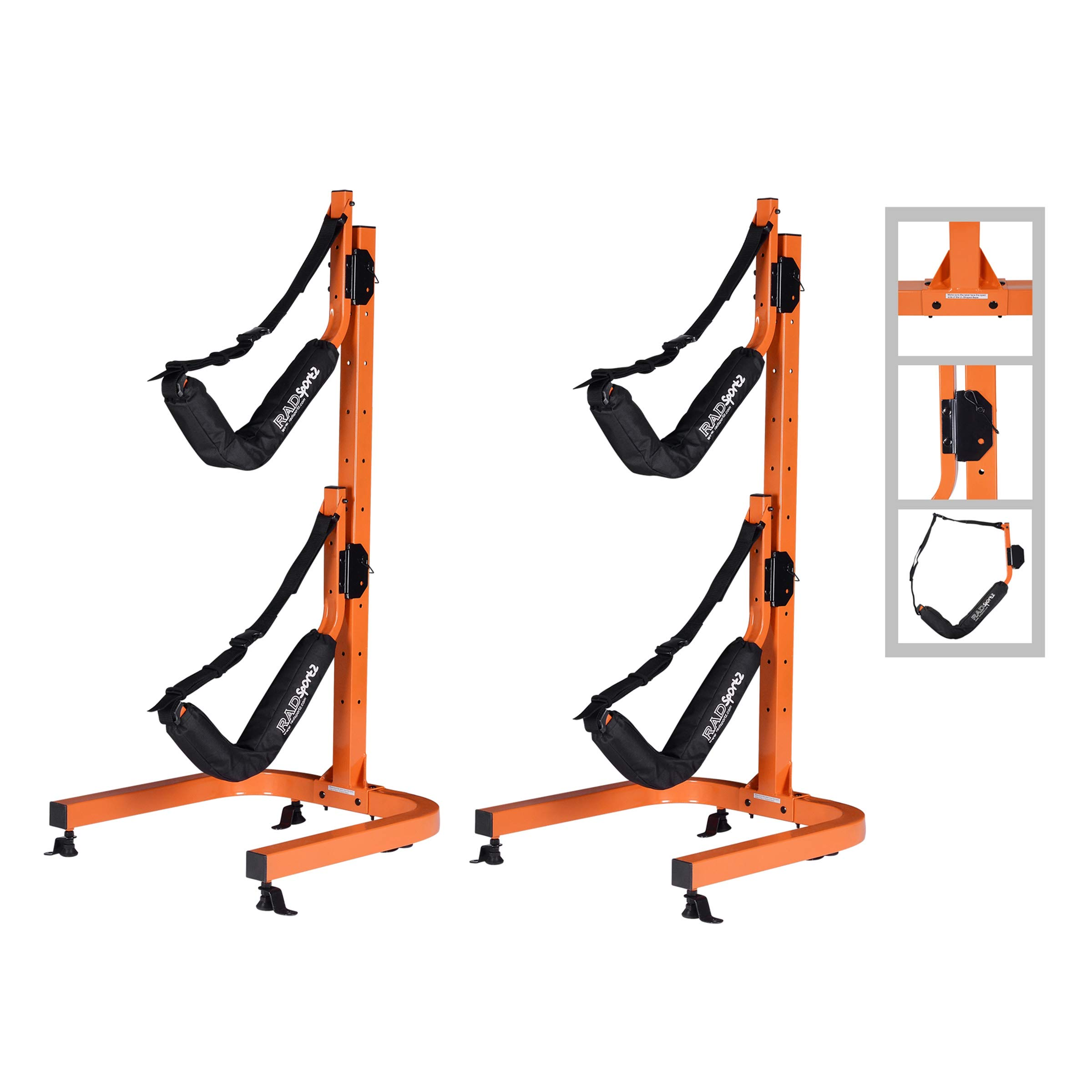 RAD Sportz Kayak Double Storage Rack- Self Standing 2 Canoes Kayaks Cradle Set with Adjustable Safety Strap System for Outdoor and Indoor Use by RAD Sportz
