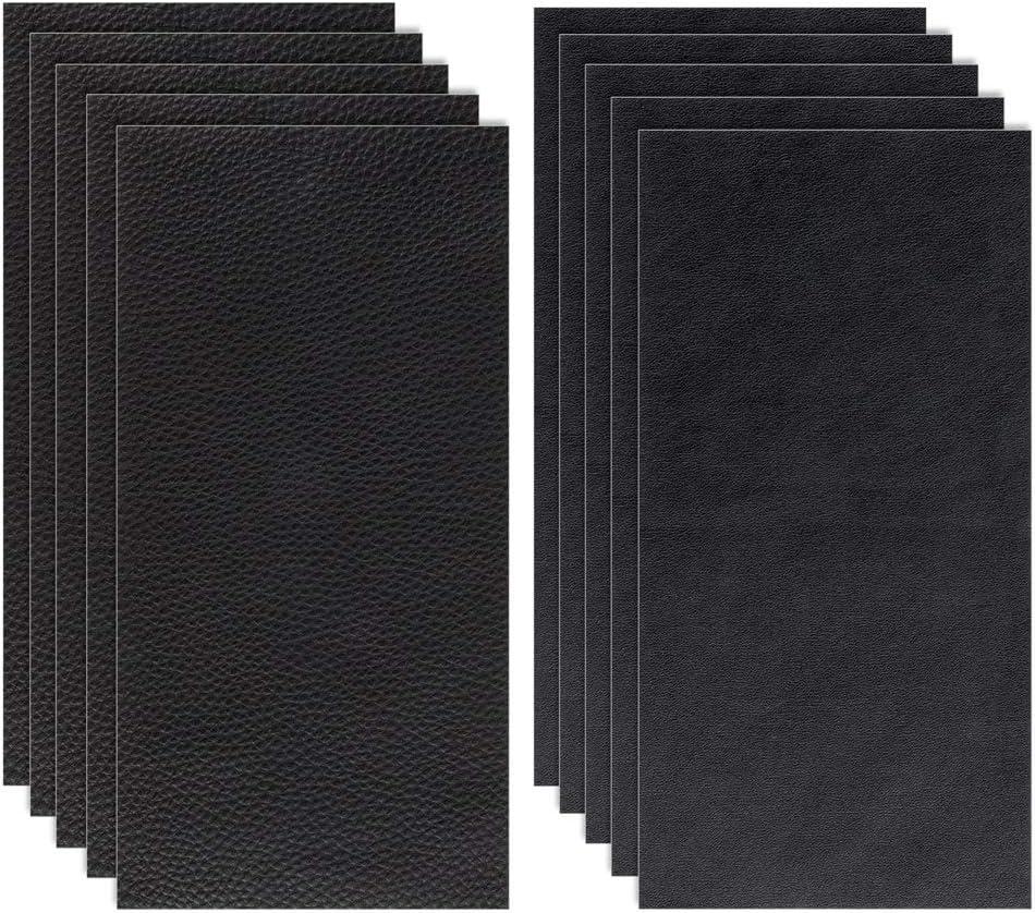 Siyaqi Kit de Parche de Piel, 10 Unidades Pegatina de reparación de Parches de 20 cm x 10 cm, despegar y Pegar para Asiento de Coche, Muebles, Chaqueta, sofá, Mochila (Negro)