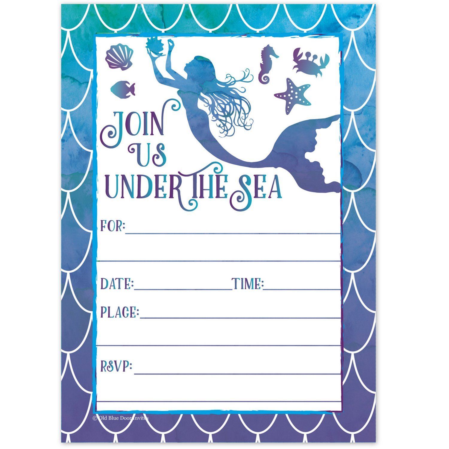 Mermaid Watercolor Birthday Party Invitations for Girls - Summer Pool Party Kids Under the Sea Invites - (20 Count with Envelopes) by Old Blue Door Invites