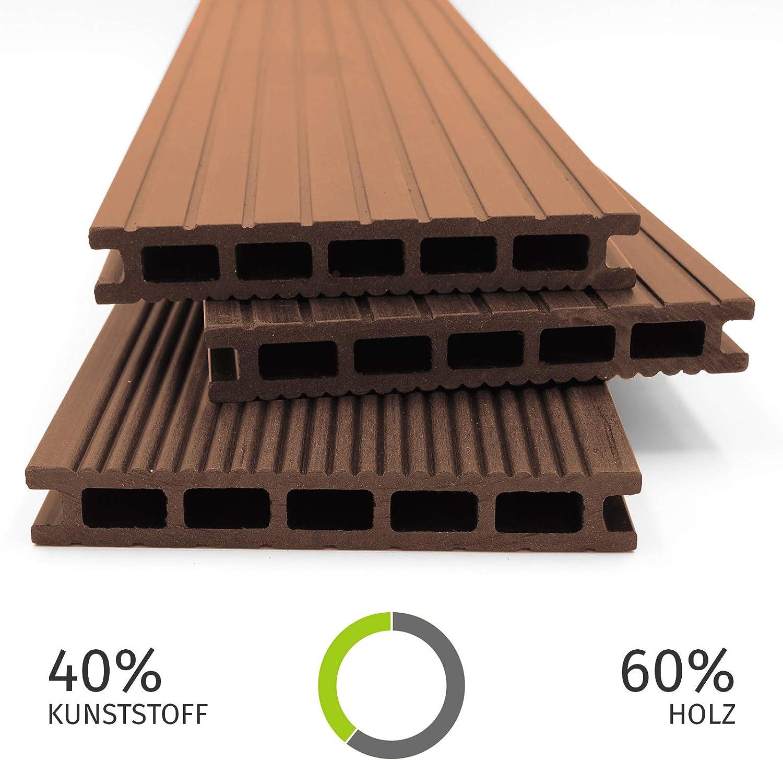 HORI/® WPC-Terrassendielen Malta braun I Komplett-Set inkl 28x50 mm Unterkonstruktion /& Clips I Dielenl/änge 4,40 m I Fl/äche 40 m/²