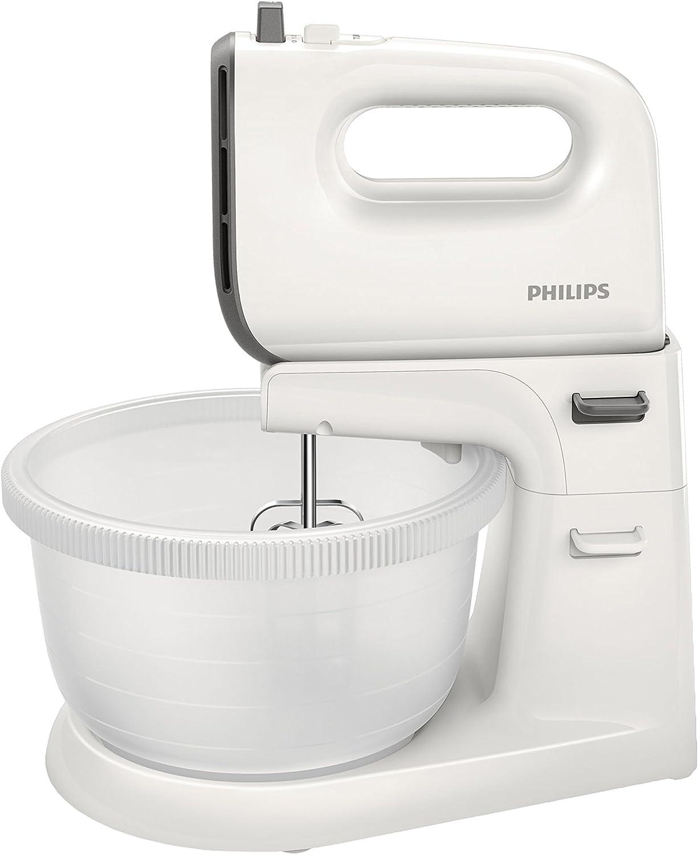 Philips Daily HR3745/00 - Batidora Amasadora, 450 W, 5 Velocidades, Bowl Incluido, Color Blanco