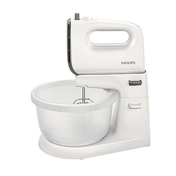 Philips Daily HR3745/00 - Batidora amasadora, 450 W, 5 velocidades, bowl incluido color blanco: Amazon.es: Hogar