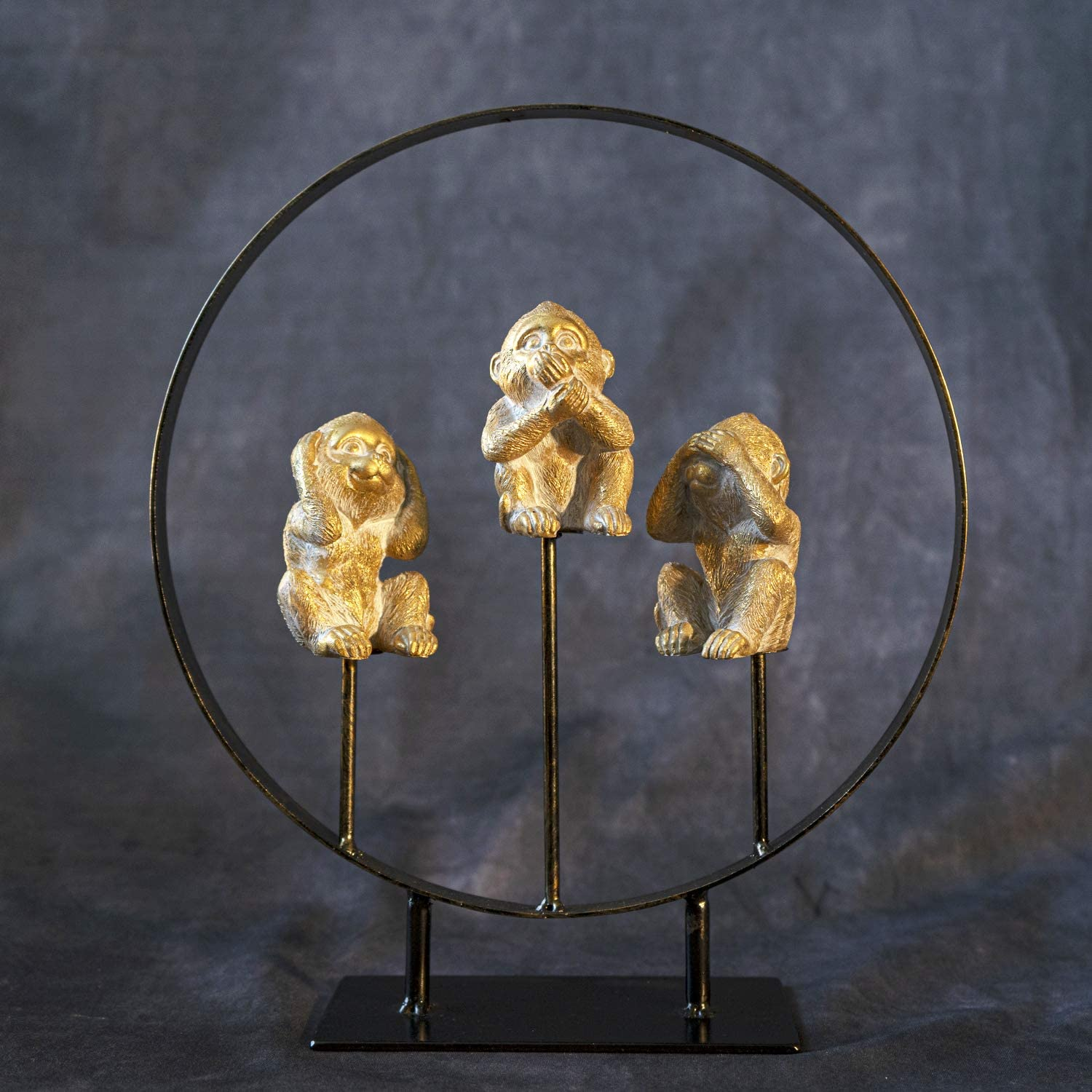 SUMMIT COLLECTION See No Evil Hear No Evil Speak No Evil Golden Monkeys On Metal Circle Stand Home and Garden Decorative Accent Gold Finish 10.75 Inches L and 11.5 Inches Tall