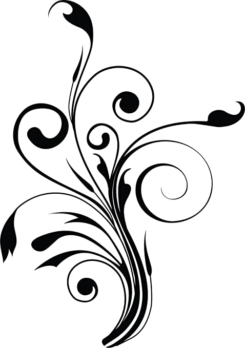 Floral ornament sticker 20 cm x 14 cm colour black flower flowersdecal vinyl