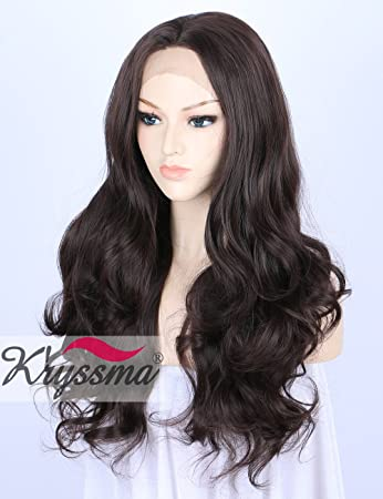 Kryssma Dark Brown Lace Front Wigs for Women Best Synthetic Hair Natural  Looking Wavy Wig uk f398dd1da