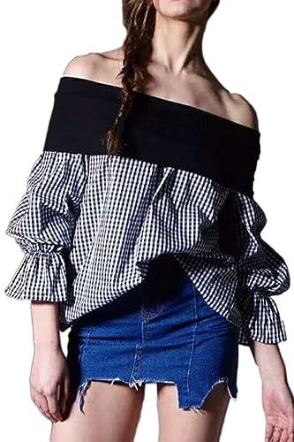 Mujeres Off Shoulder Colorblock Patchwork Guinga Flare Manga Amplia Hem Blusa T Shirt