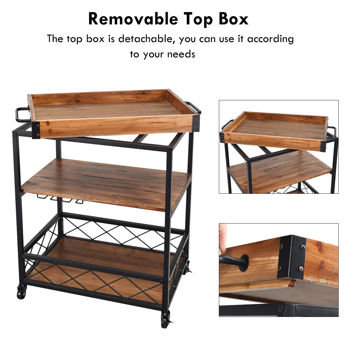 Giantex Kitchen Trolley Cart Island Rolling Serving Carts Utility Cart 3 Tier Storage Shelf with Glass Holde, Handle Racks, Lockable Caster Wheels Kitchen Carts Islands w/Removable Wood Box Container by Giantex (Image #7)