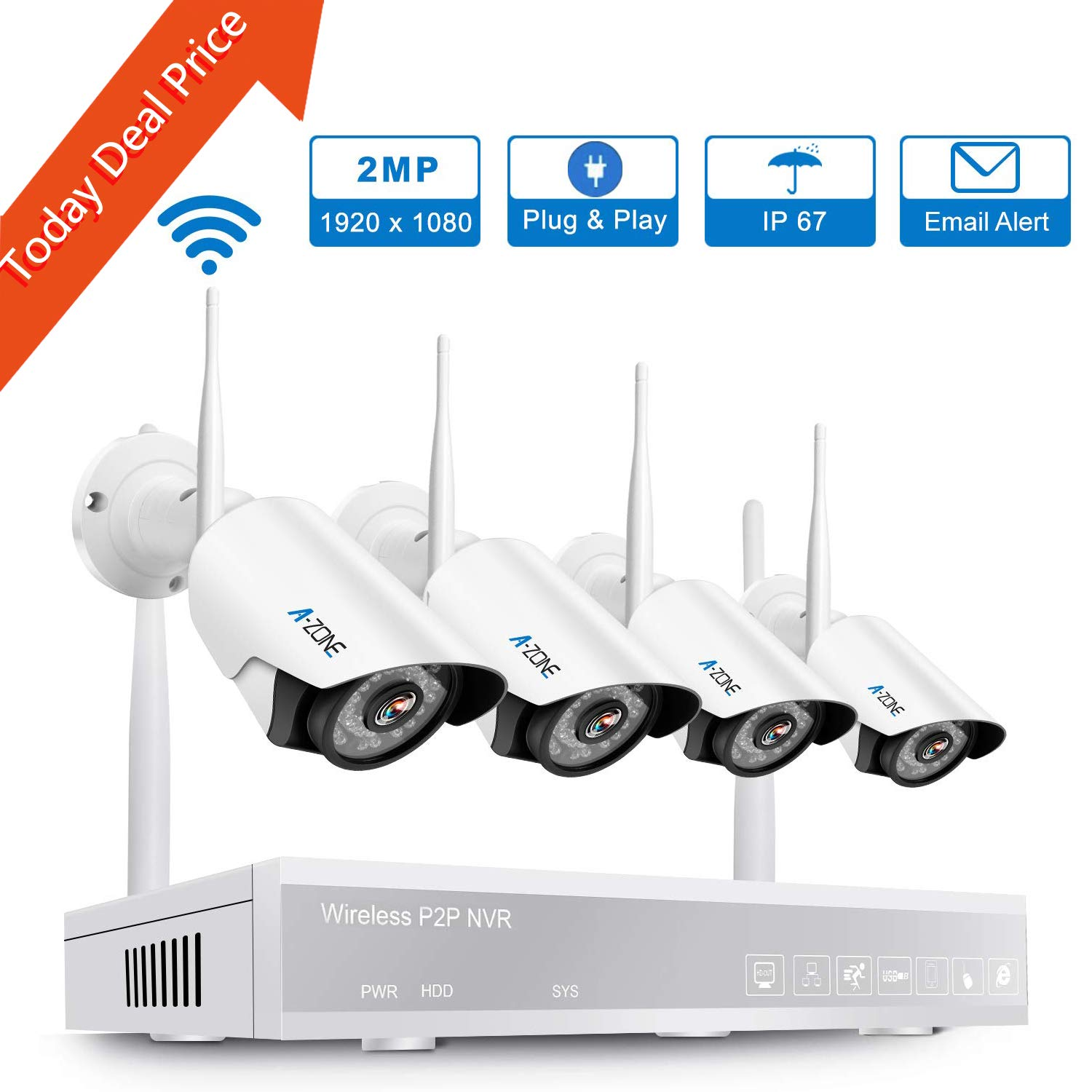 A-ZONE Wireless Security Camera System, 4CH 1080P Full HD NVR with 4pcs 1080P HD Indoor Outdoor Wireless IP Cameras Night Vision,Easy Remote View,No Hard Drive by A-ZONE