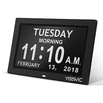 YISSVIC Reloj Digital Reloj Digitale Calendario 9 Pulgadas Pantalla luminosidad Ajustable Claro gráfico Fecha DÍA Y Hora (con función de Alarma en 8 ...