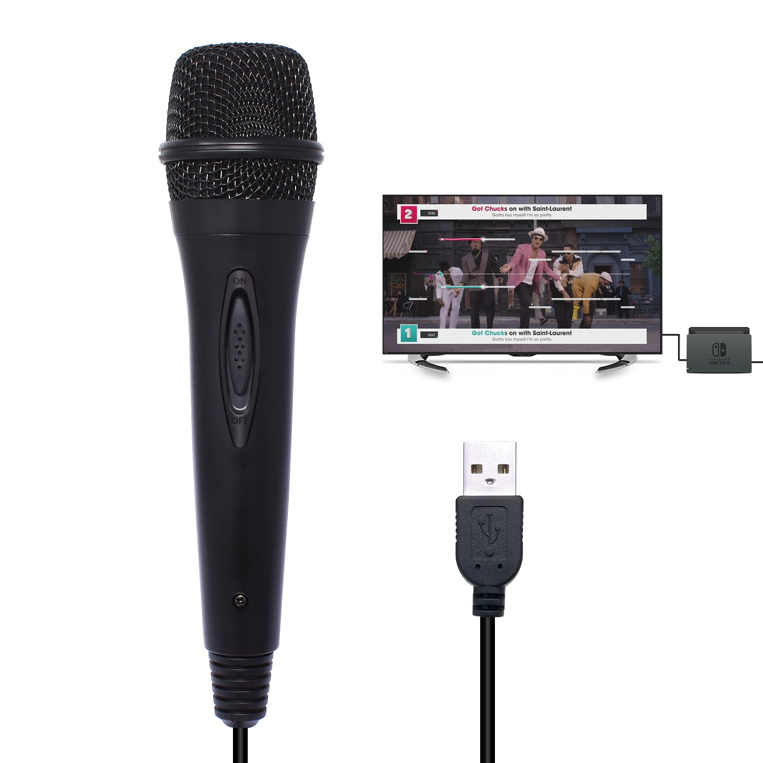 USB Wired Karaoke Gaming Microphone for Nintendo Switch/Wii U/PS4/Xbox One/Xbox 360/PC Singing Game - 9.84ft