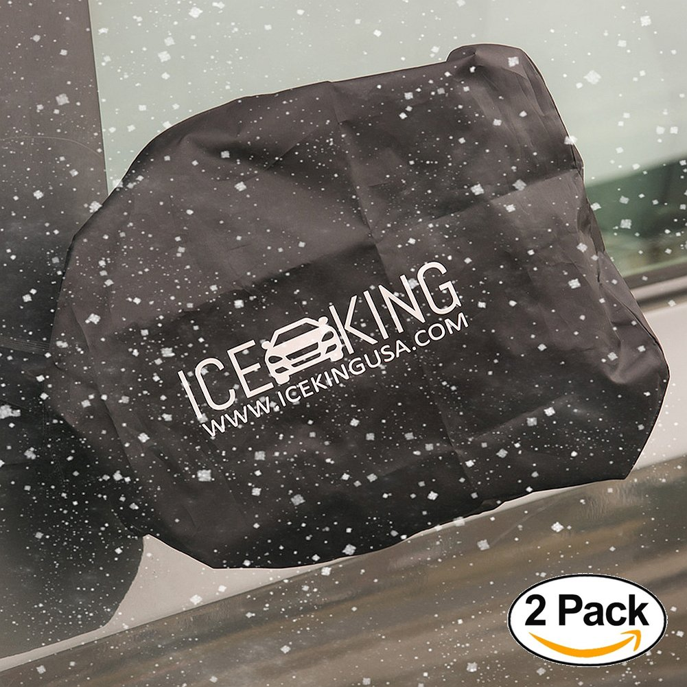 Full Set - 2 IceKing Huge Snow and Ice Mirror Covers Universal Size Fits Cars SUV Truck Van with Advanced Anti Bird Poop Technology Ice King