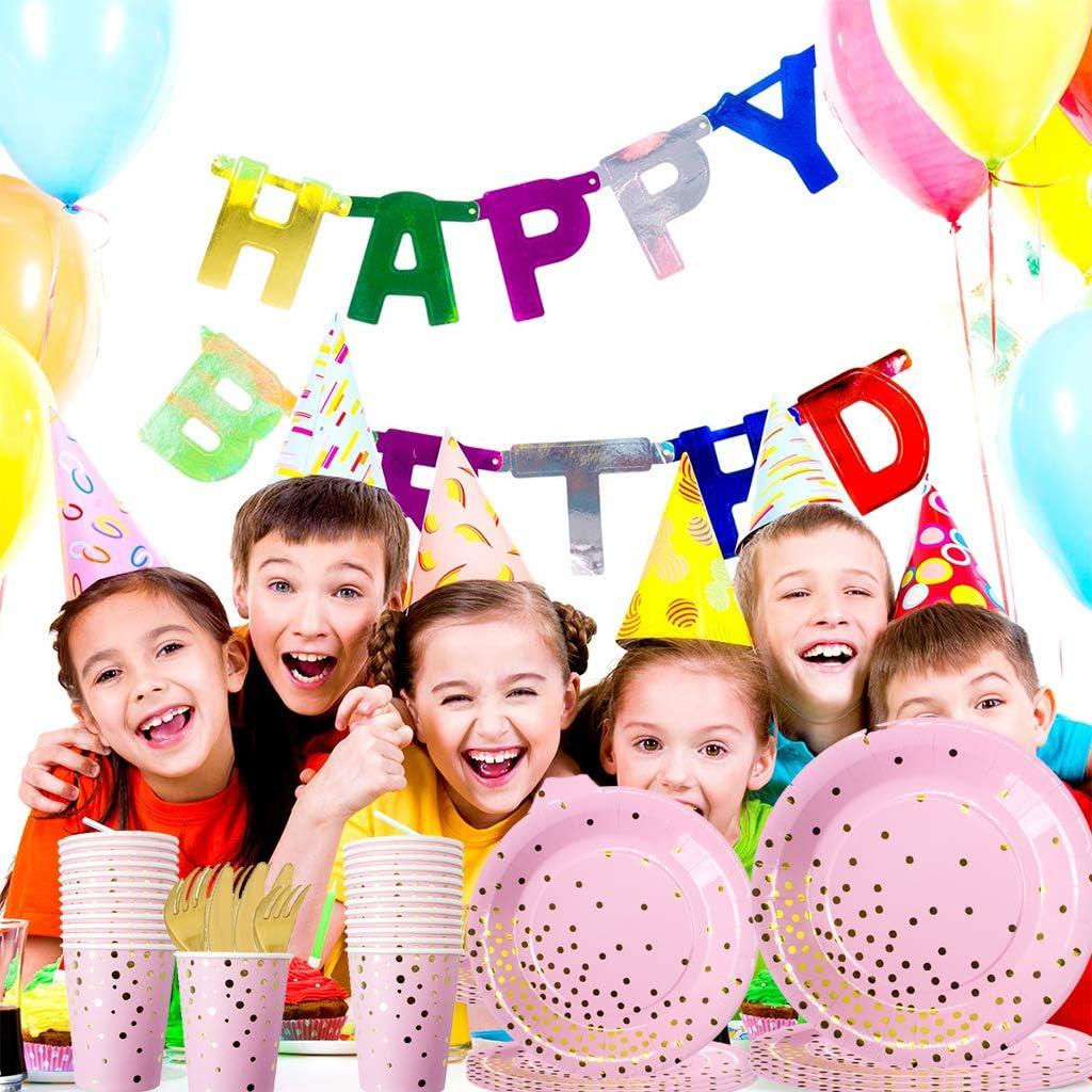Amycute 130 Pezzi Feste di 1/°Compleanno Cannucce Tovaglia 1 Compleanno Bambini Festa Tovaglioli 1 Compleanno Piatti Striscioni Bicchieri Utensili