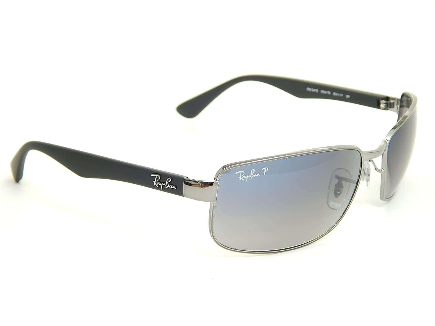 Amazon.com: New Ray Ban RB3478 004/78 Gunmetal/Polar Blue ...