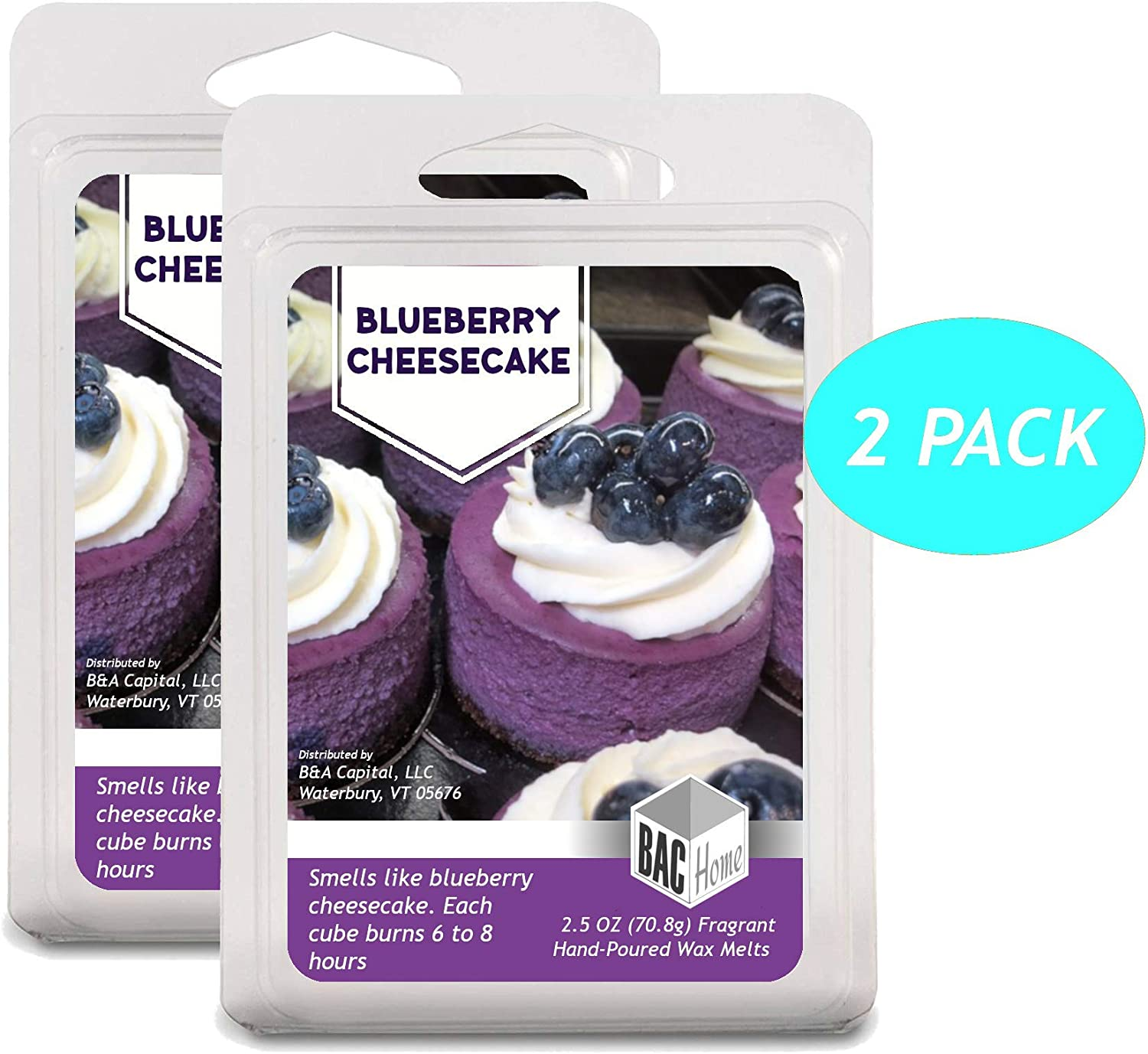 BAC Home Blueberry Cheesecake Soy Blend Scented Wax Melts Wax Cubes, 2.5 oz, [6 Cubes] (2)