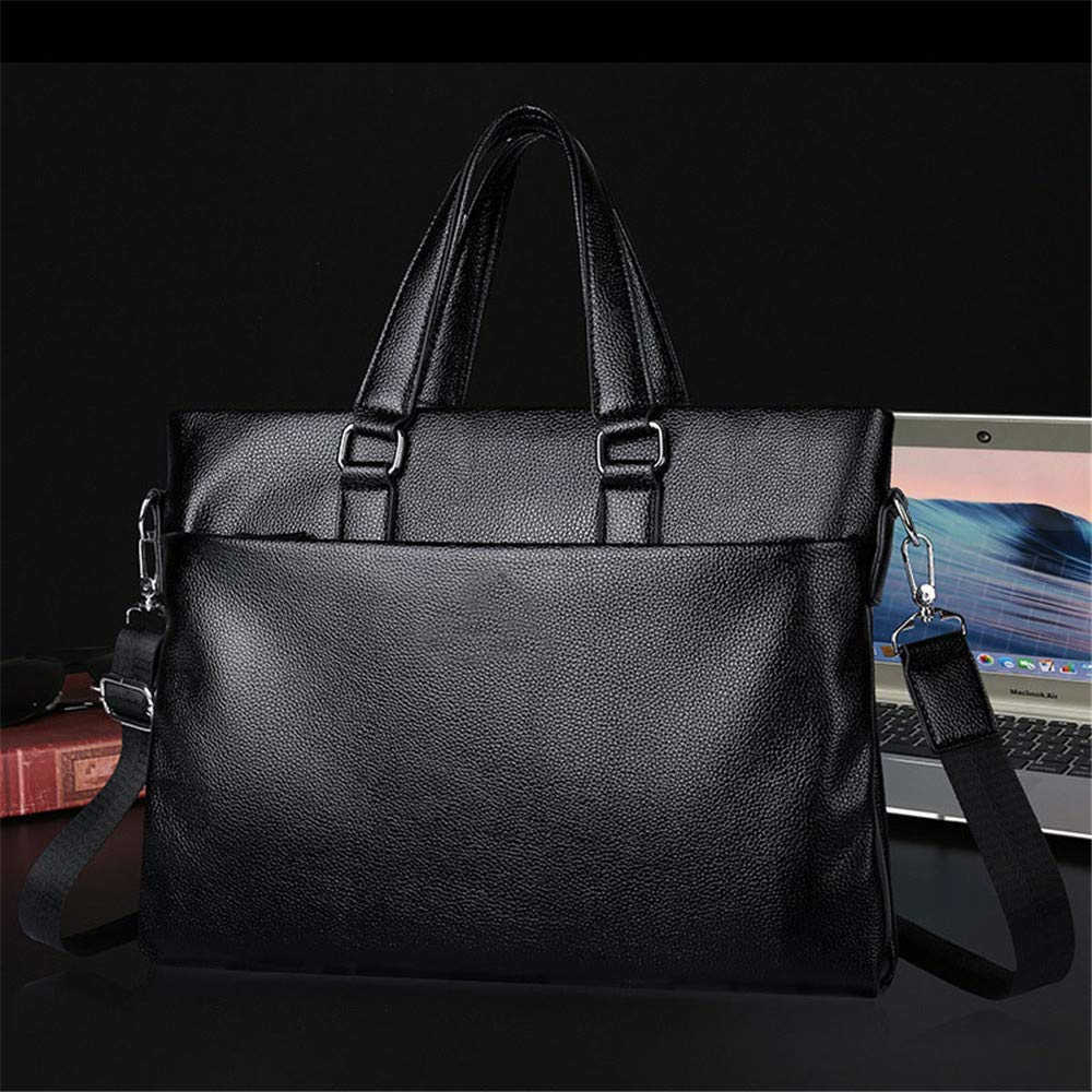 Xiejuanjuan Laptop and Tablet Bag Mens Shoulder Bag Business Casual Bag Mens Briefcase Soft Leather Cross Section Handbag Color : Black