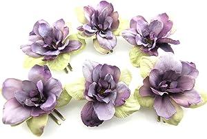 6 pc Lot Violet Beige Apple Blossom Silk Flower Hair Clips