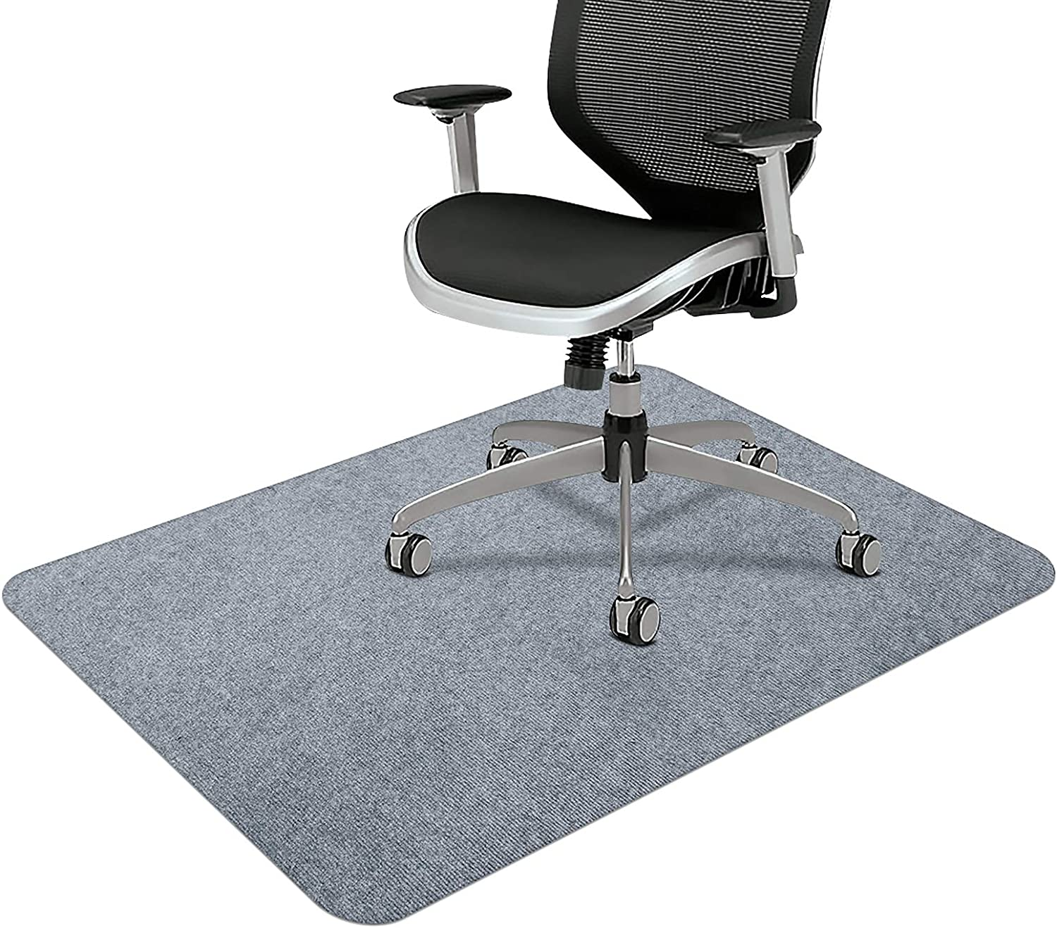 "Office Chair Mat, Upgraded Version - Office Desk Chair Mat for Hardwood Floors, 1/6"" Thick 55""x35"" Hard Floor Protector Mat, Multi-Purpose Chair Carpet for Home (Light Gray)"