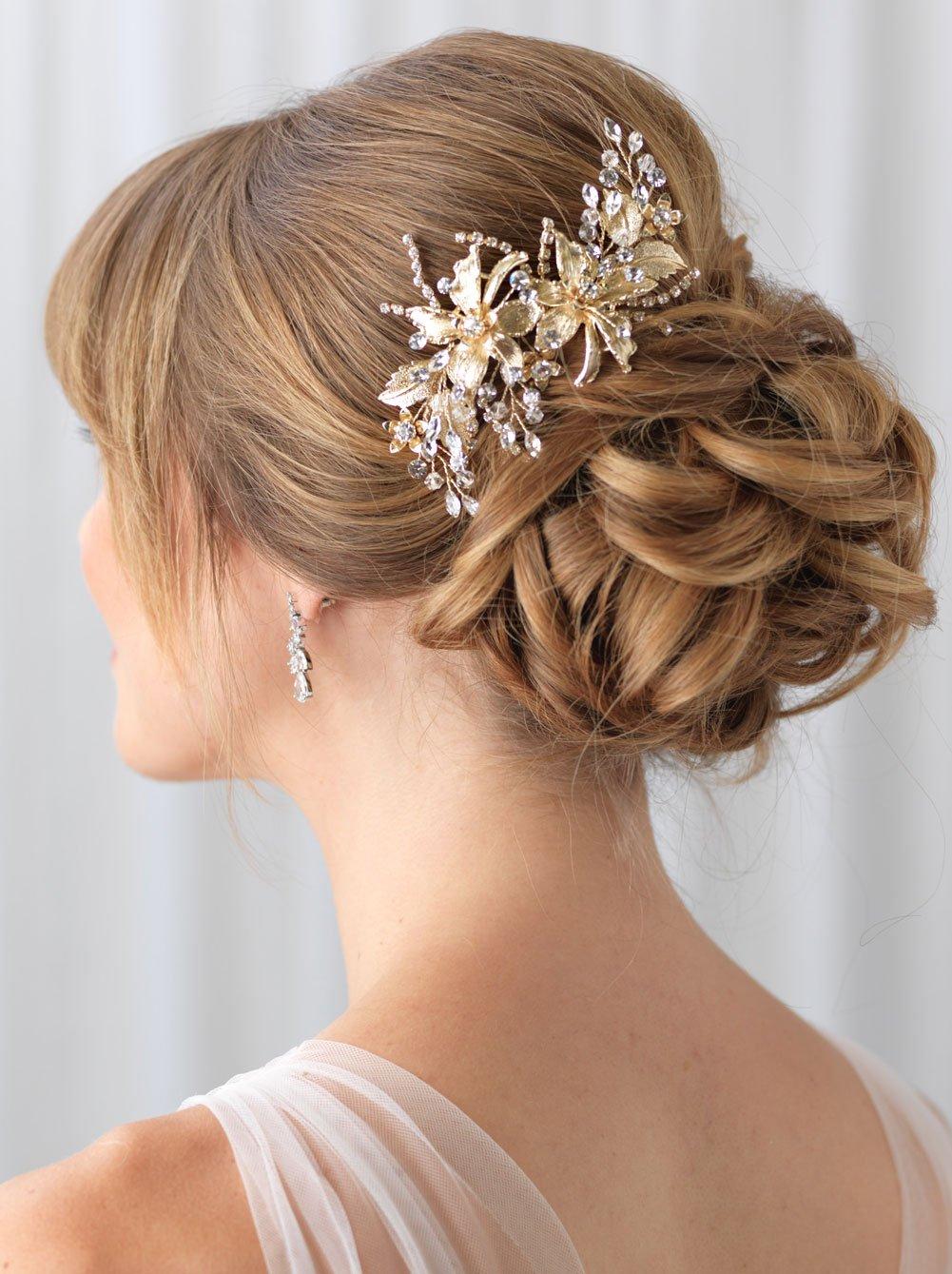 USABride Bridal Comb Gold-Plated Floral Wedding Headpiece Rhinestones Crystals Hair Clip TC-2288-G (Gold)