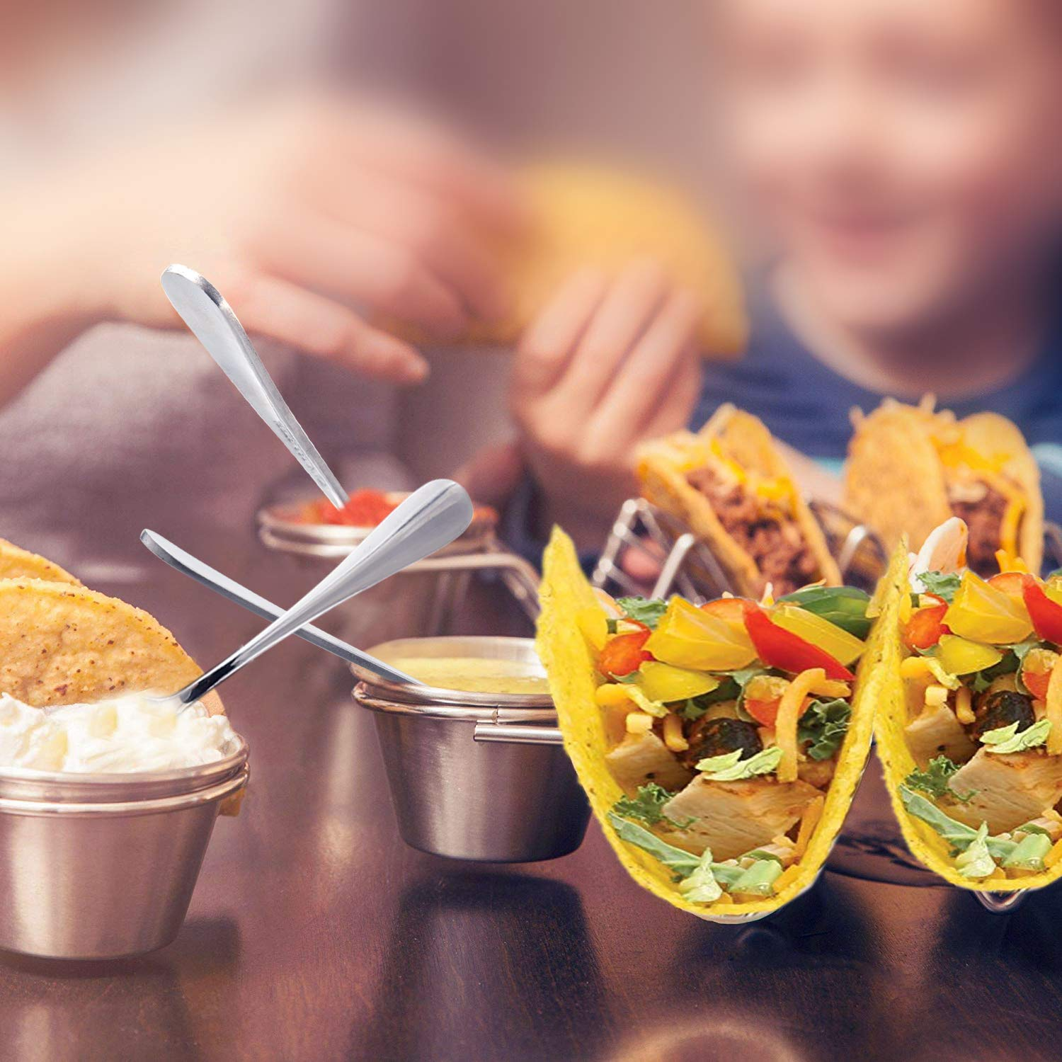 Upgrade Taco Shell Stand Up Holders-4 Pack Premium Stainless Steel Taco Holder with 8 Salad Cups & 4 Spoons,Holds 3 Tacos Each Keeping Shells Upright & Neat by U-picks (Image #6)