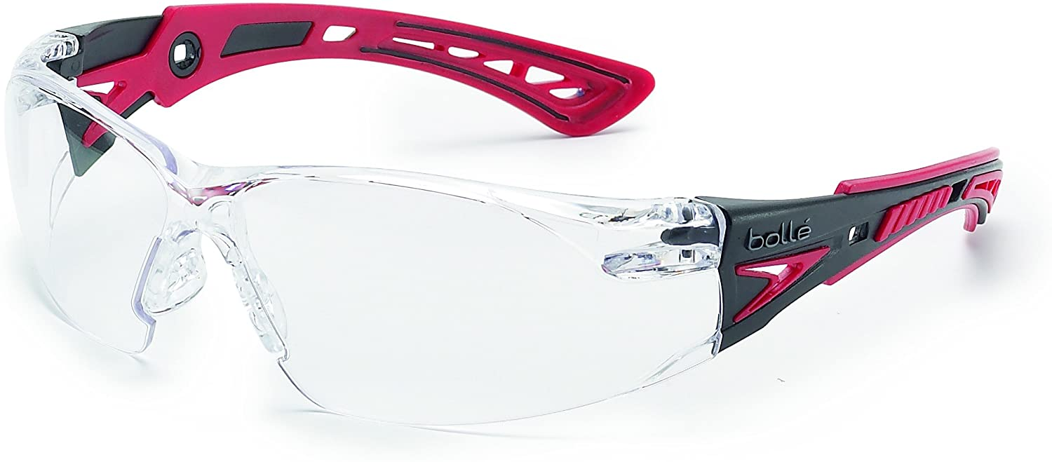 Bollé Safety 41080, Rush+ Safety Glasses Platinum, Black & Red Frame, Clear Lenses: Sports & Outdoors