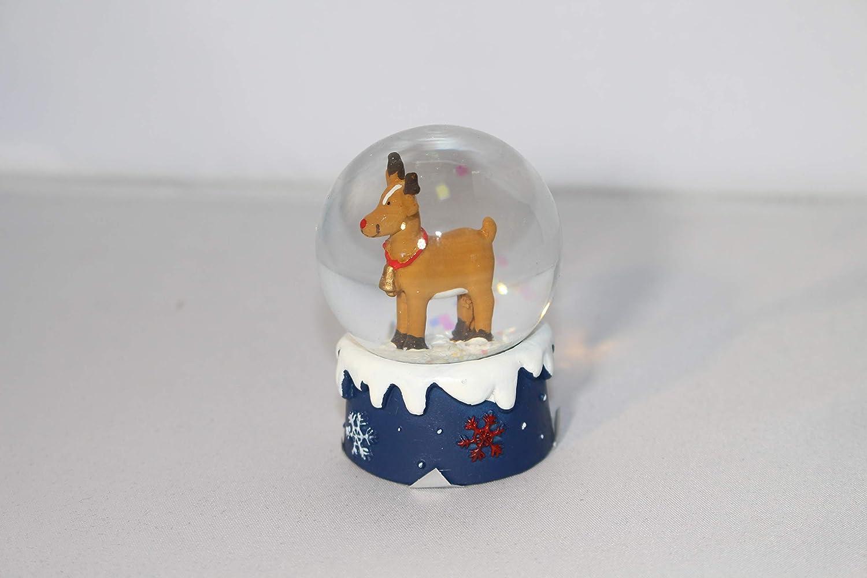 Gisela Graham Reindeer mini snow globe dome Christmas Decoration with Blue Base