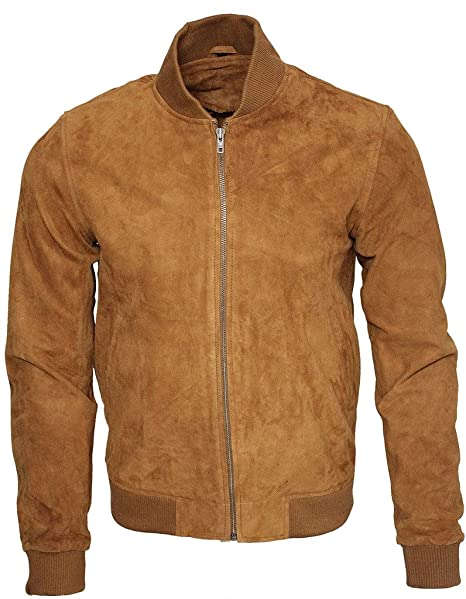 Infinity Mens Retro Tan Goat Suede Leather Bomber Varsity ...