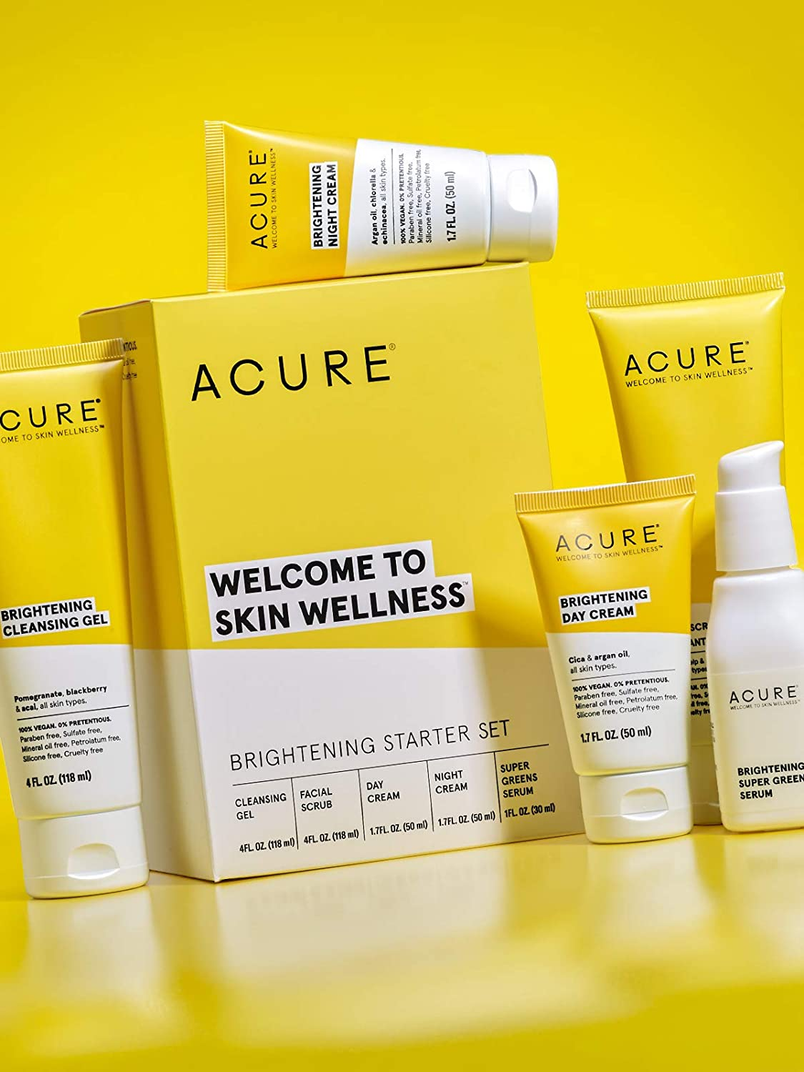 Acure Brightening Starter Kit - 100% Vegan & For A Brighter Appearance, Includes Facial Scrub, Super Greens Serum, Cleansing Gel, Day Cream & Night Cream, 5 Count