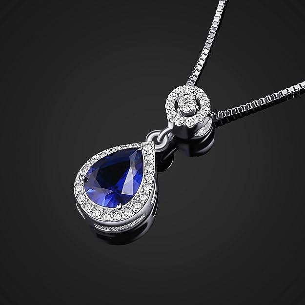 B.Catcher Jewellery Angel Tears Necklace Blue Teardrop Gems Cubic Zirconia Silver Necklaces t47By1piQ