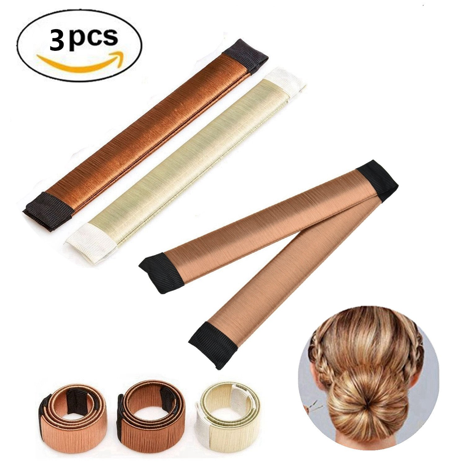 Hair Bun Accessories Hair Bun Maker Tool, 3 PCS French Twist Hair Accessories Hair Clip for Buns, Fashion Bun Shapers Donut Bun Maker Hairstyle Toll for Women Girls Ealicere
