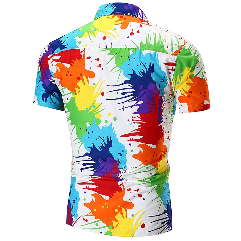 Shirt Men Short Sleeve Hawaiian Shirt Summer Casual Cotton Multicolor Shirts Men Vacation Plus Size Floral Shirts