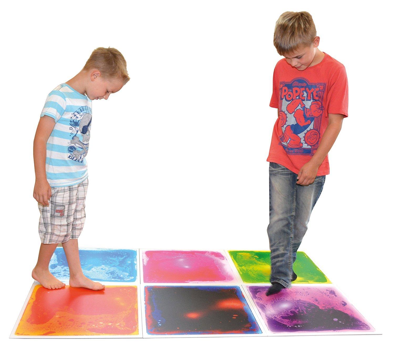 Art3d 6-Tile Sensory Room Tile Multi-Color Exercise Mat Liquid Encased Floor Playmat Kids Play Floor Tile, 16 Sq.Ft