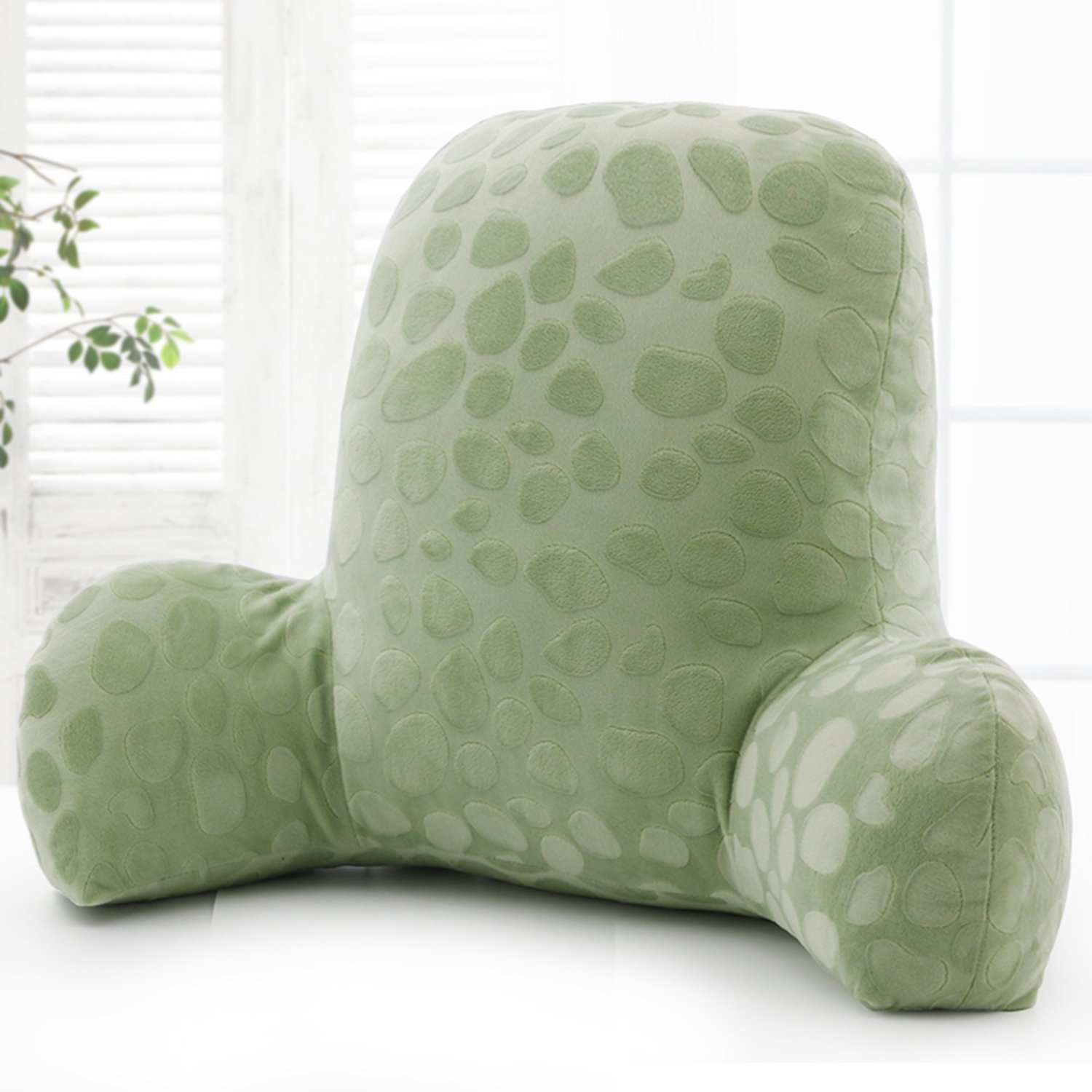 Wwang Embossed plush Reading Pillow - Best Bed Pillow with Arm Reading Bed - Perfect for Teens, and Kids -by (Matcha green)