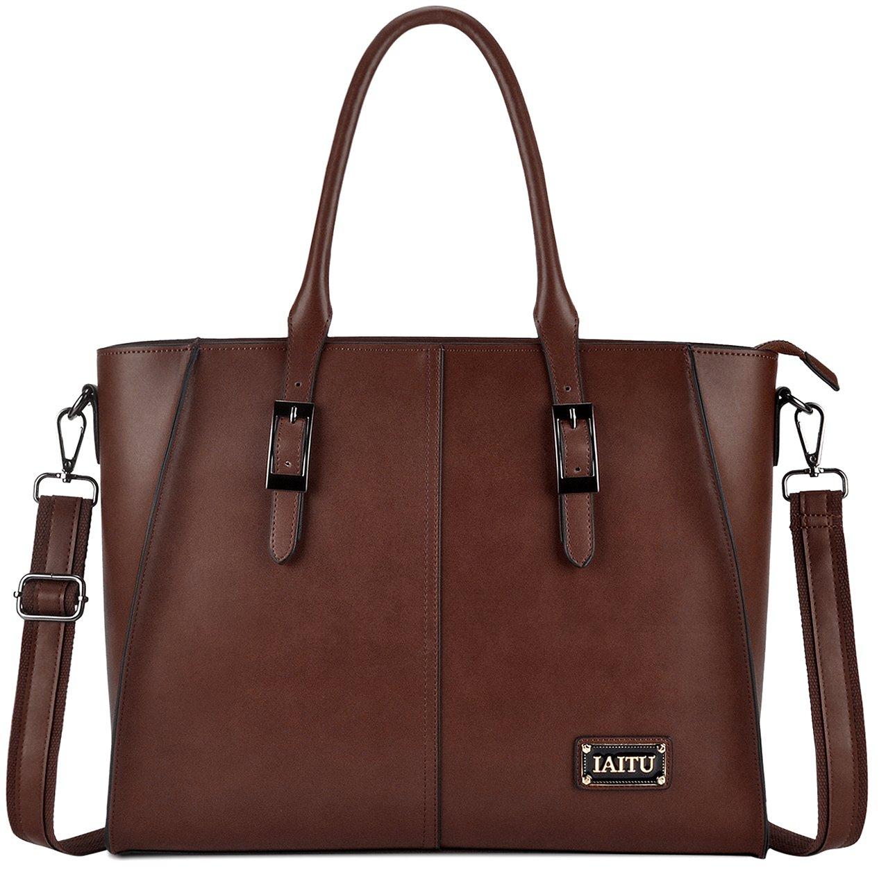 IAITU Laptop Bag, 15.6 Inch Laptop Briefcase Elegant Wing Tote Bag for Women/College Work School (Coffee) by IAITU (Image #1)