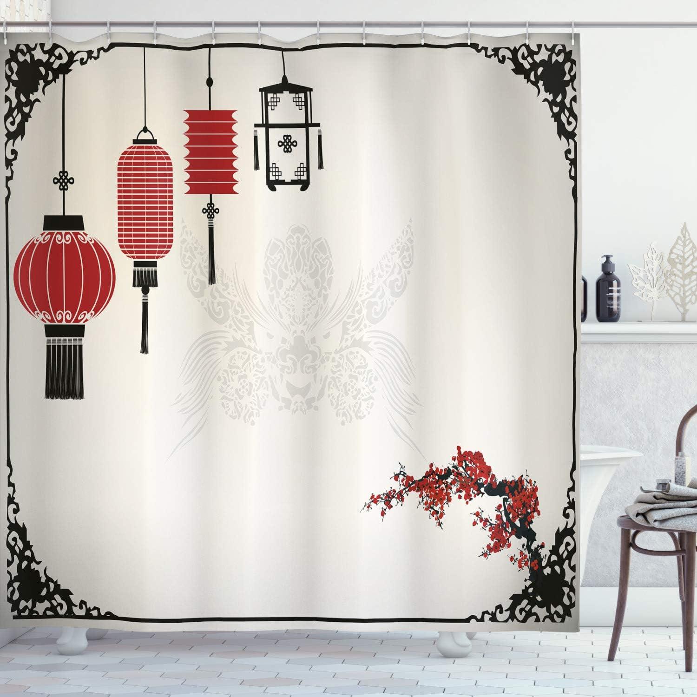 Chinese New Year Red Lanterns Flowers Fabric Shower Curtain Set Bathroom Decor