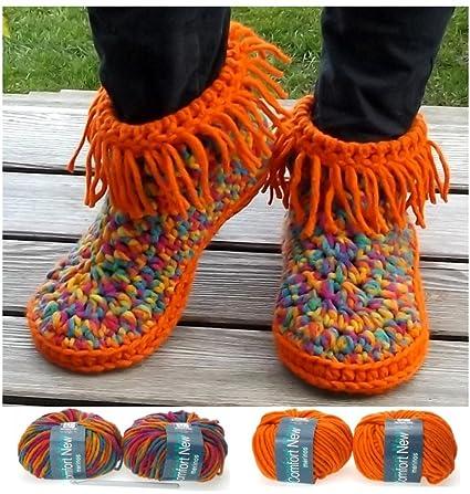 Herbys-Trendartikel herbys DIY – häkelpa ckung – Zapatillas Sioux, lana Incluye instrucciones