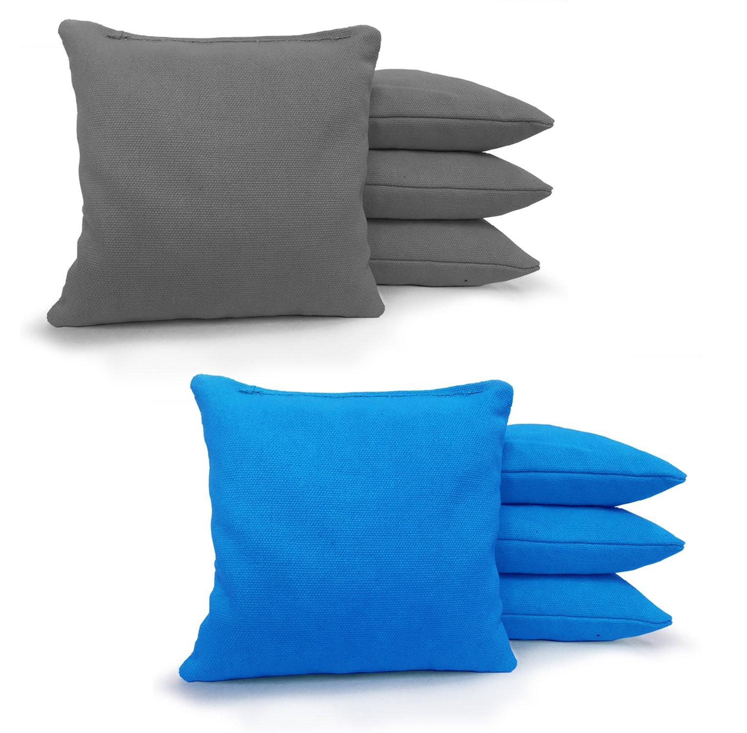 8 Standard Corn Filled Regulation 6''x6'' Duck Cloth Cornhole Bags! (Grey/Turquoise)