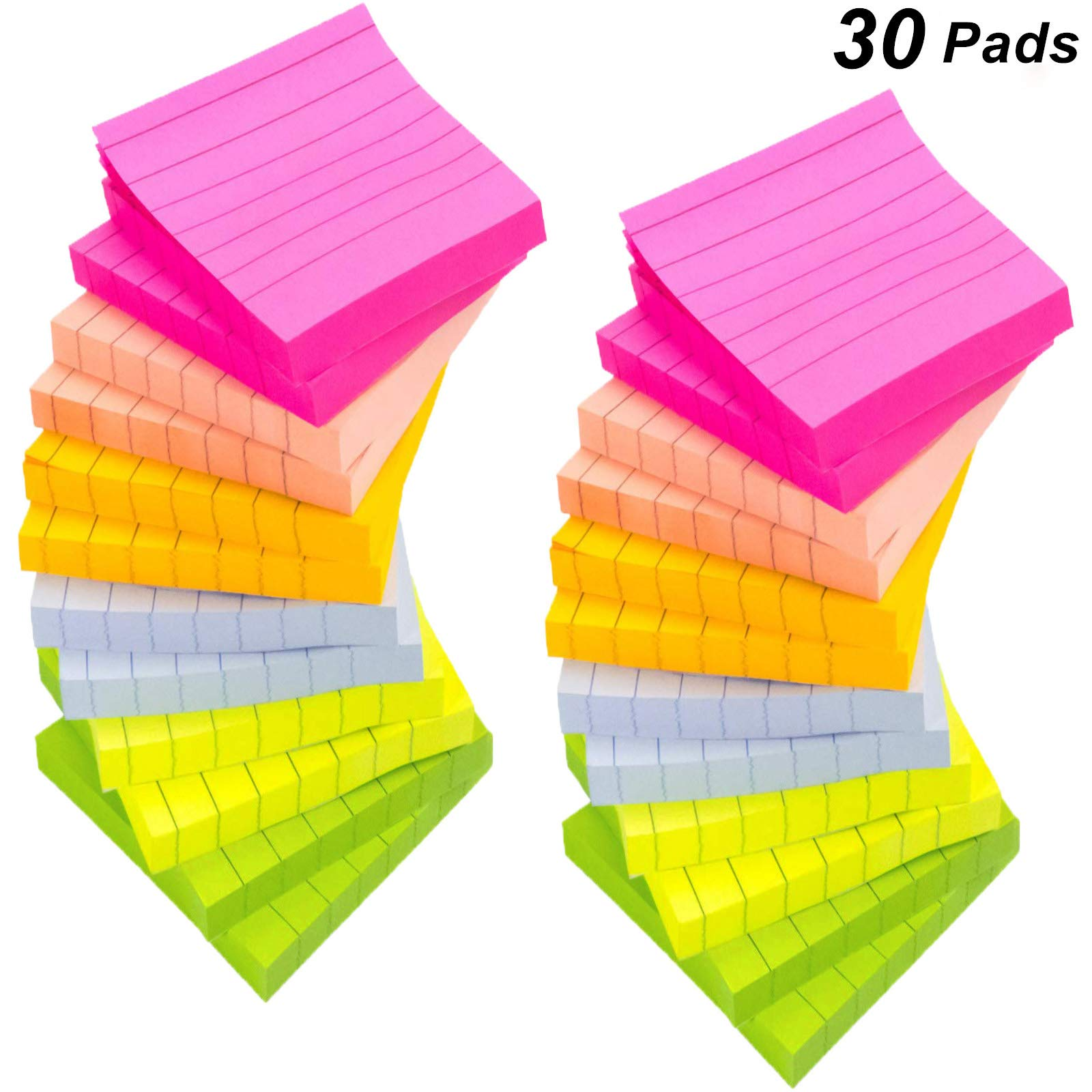 30 Pads/Packs Lined Sticky Notes, 6 Bright Color Self-Stick Notes Pads with Lines, 3 x 3 inch, 80 Sheets/Pad, Neon Paper & Assorted Colors,Easy Post Notes for Study, Works, Office