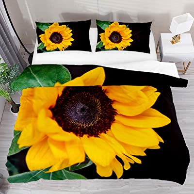 3 Pieces Floral Composition With Beautiful Sunflower Duvet Cover Set (1 Duvet Cover + 2 Pillowcases) Extra Long Twin Size Breathable Bedding Sets Room Decor for Kids Children Girls Boys Teens: Home & Kitchen