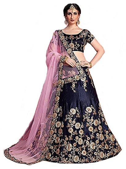 11f29d32a3cef India's Lowest Price Women's Silk Printed Lehenga Choli (Red chex, Sky  Blue, Free
