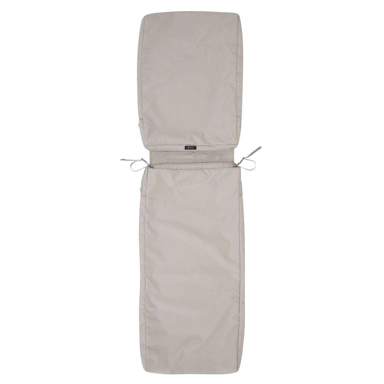 "Classic Accessories Ravenna Patio Chaise Lounge Cushion Slip Cover, Mushroom, 72"" x 21"" x 3"""